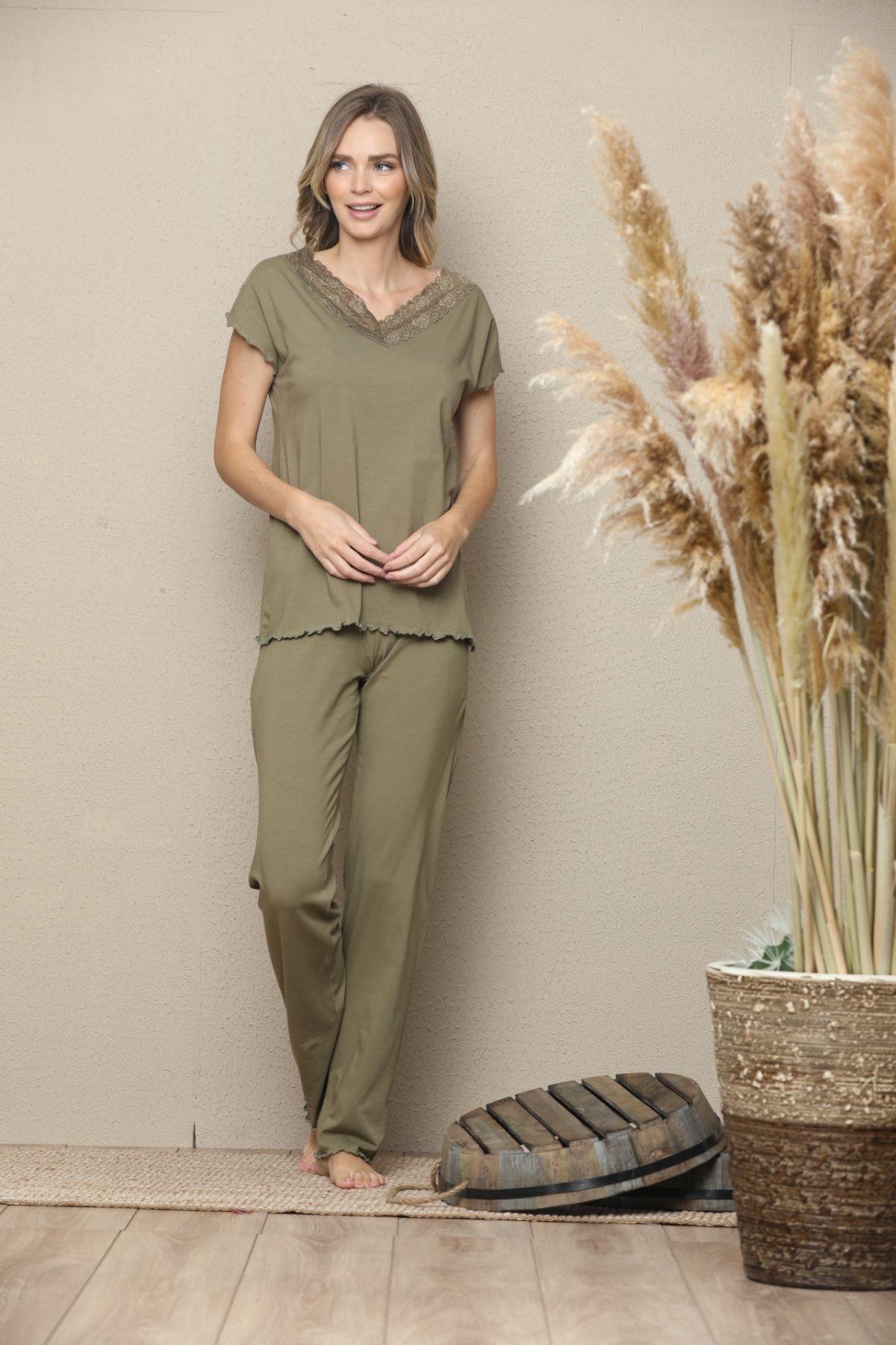 Kısa Kollu Dantelli Pamuklu Likralı Pijama Takım 21133507