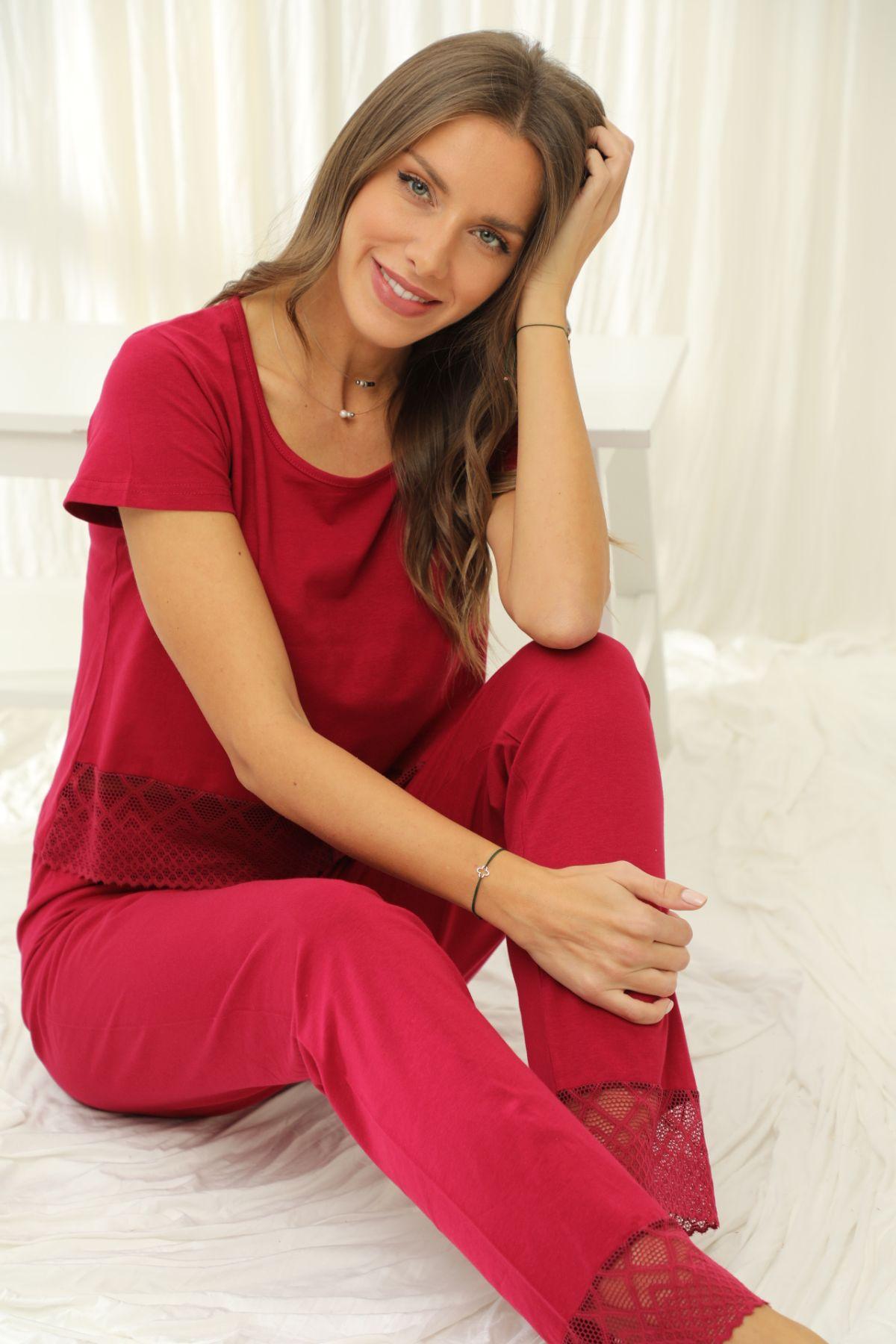 SİYAH İNCİ - Kısa Kollu Dantelli Pamuklu Likralı Pijama Takım 21133672