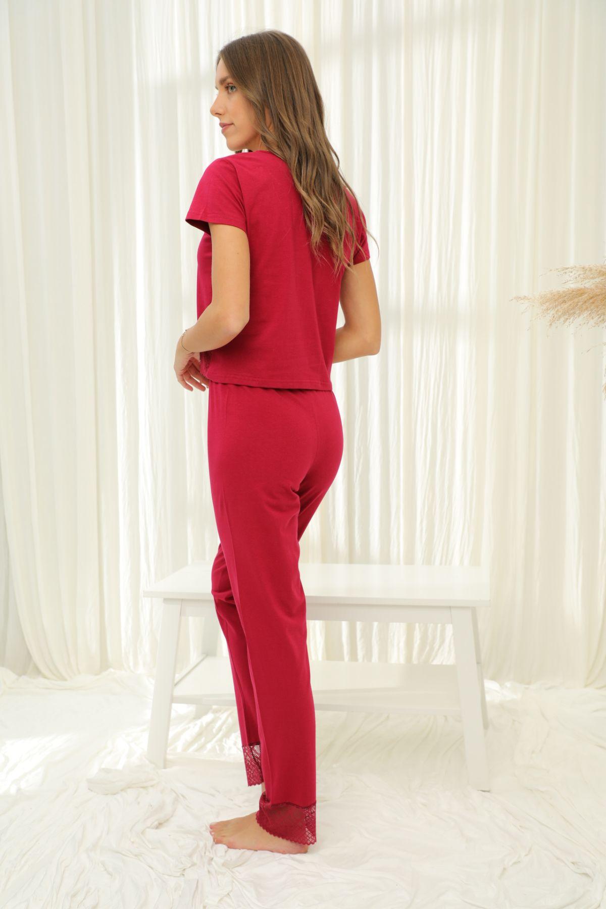 Kısa Kollu Dantelli Pamuklu Likralı Pijama Takım 21133672
