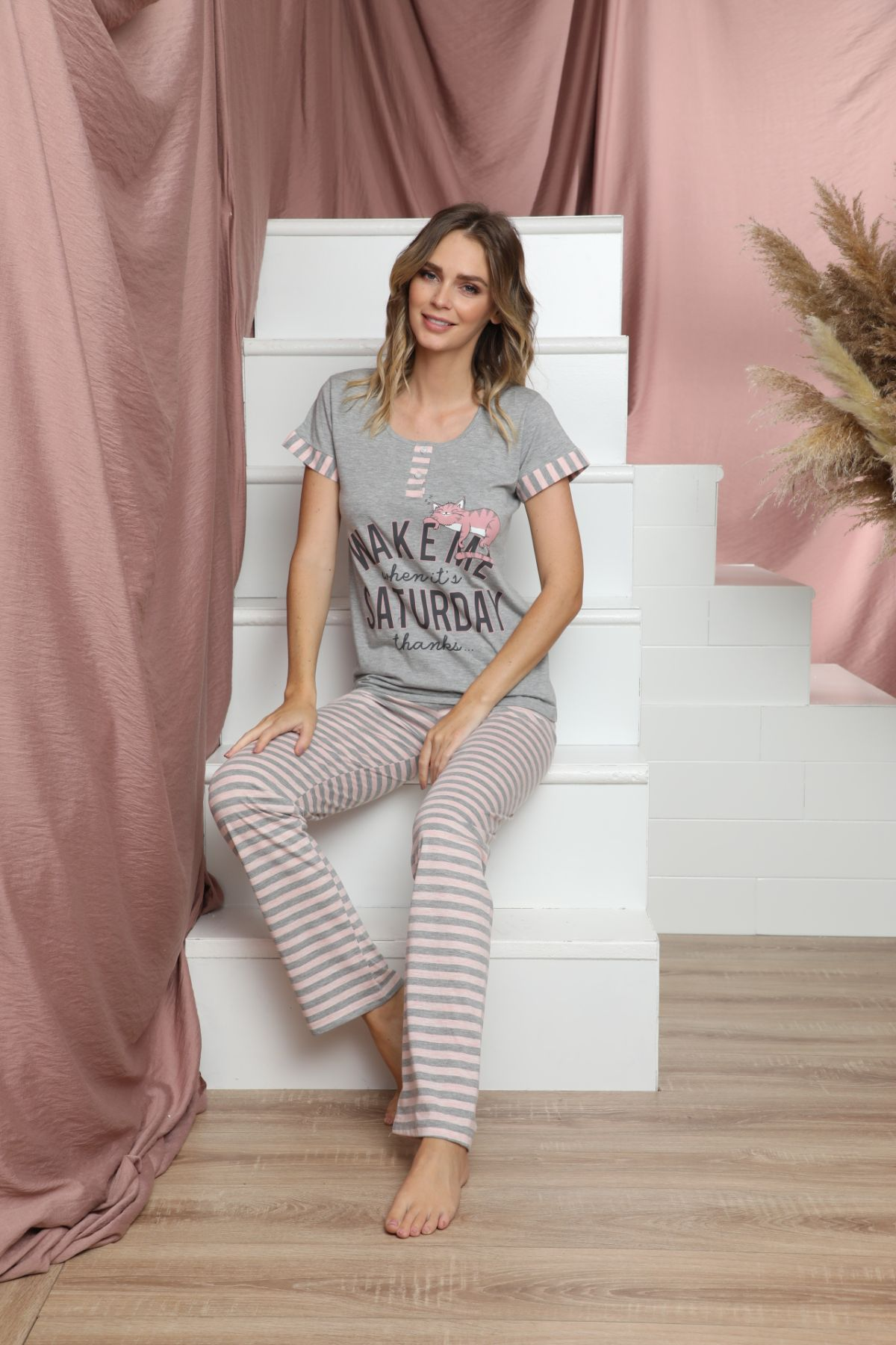 SIYAH INCI - Kısa Kollu Düğmeli Pamuklu Likralı Pijama Takım 21133617