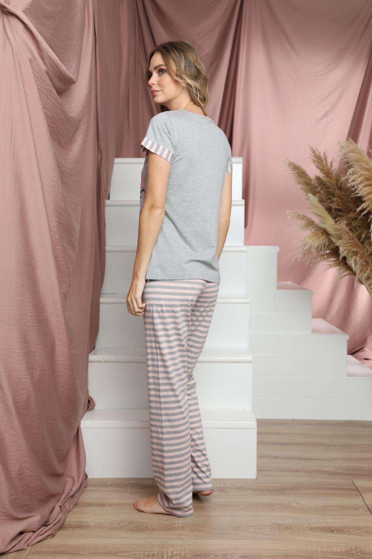 Kısa Kollu Düğmeli Pamuklu Likralı Pijama Takım 21133617