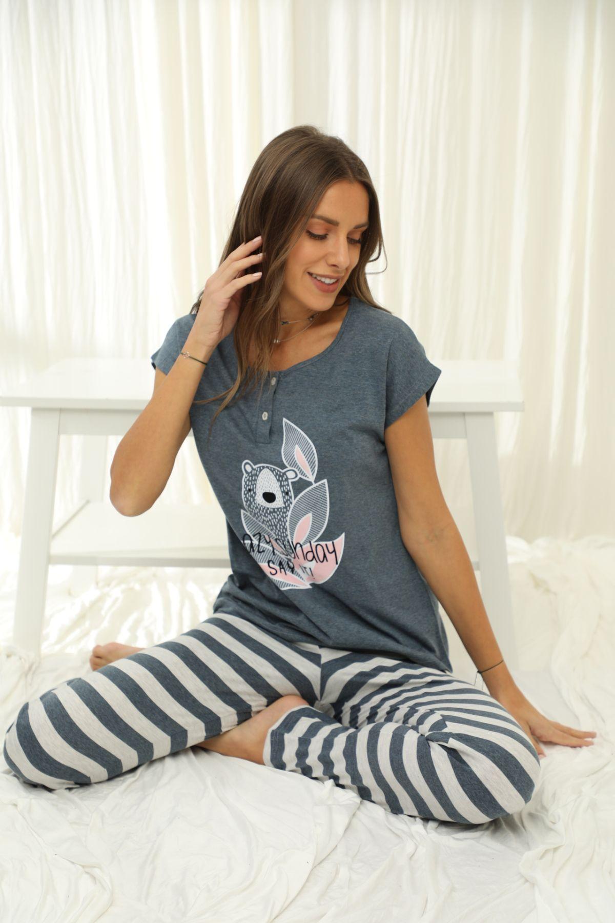 SİYAH İNCİ - Kısa Kollu Düğmeli Pamuklu Likralı Pijama Takım 21133680