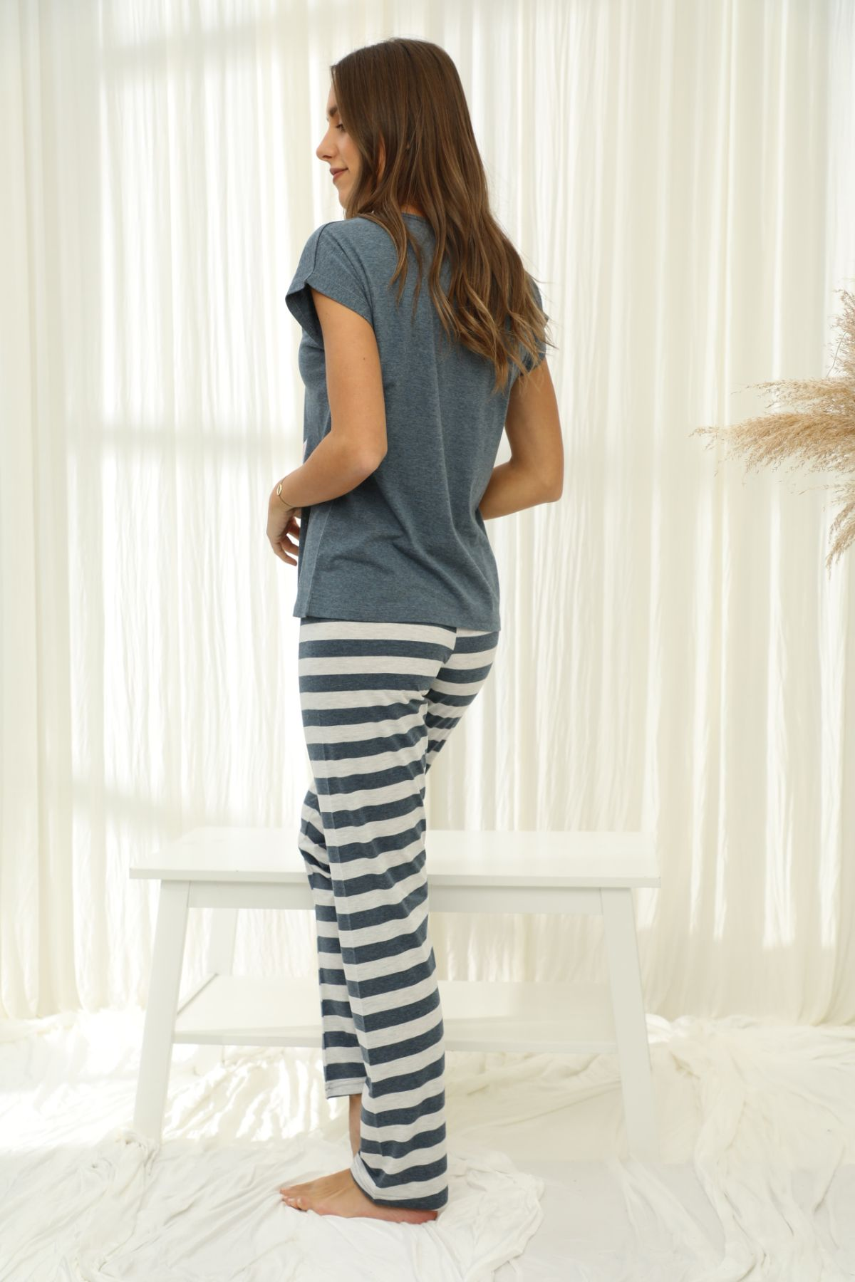 Kısa Kollu Düğmeli Pamuklu Likralı Pijama Takım 21133680