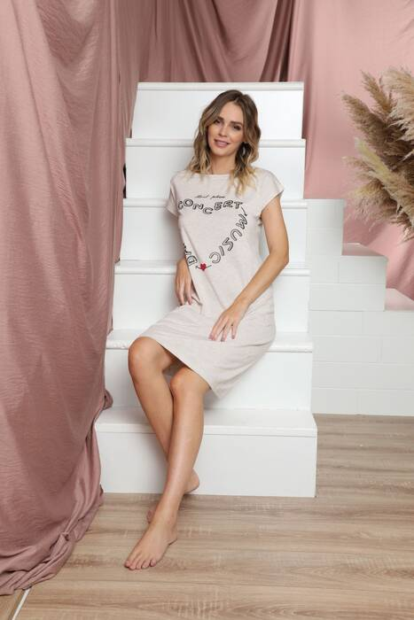 Kısa Kollu Pamuklu Likralı Elbise 21135502