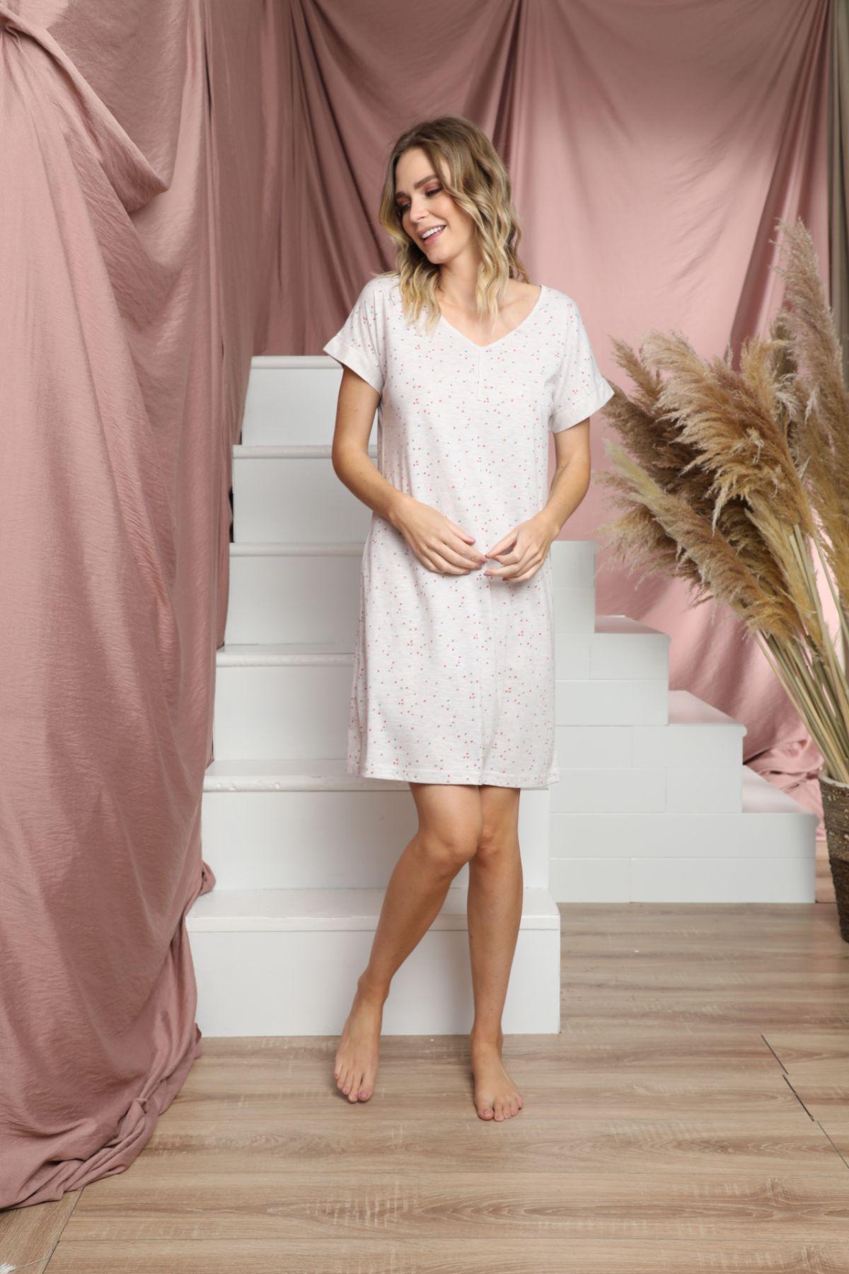 Kısa Kollu Pamuklu Likralı Elbise 21135505 - Thumbnail
