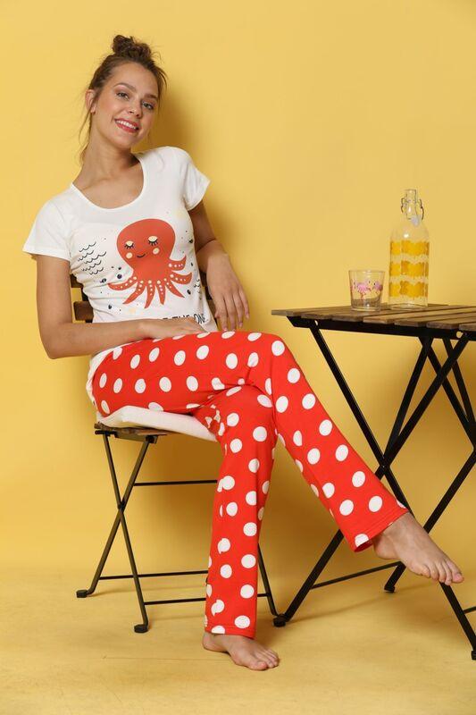 SİYAH İNCİ - Kısa Kollu Pamuklu Likralı Pijama Takım