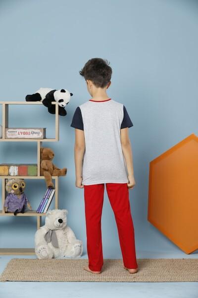 Kısa Kollu Pamuklu Likralı Pijama Takım - Thumbnail