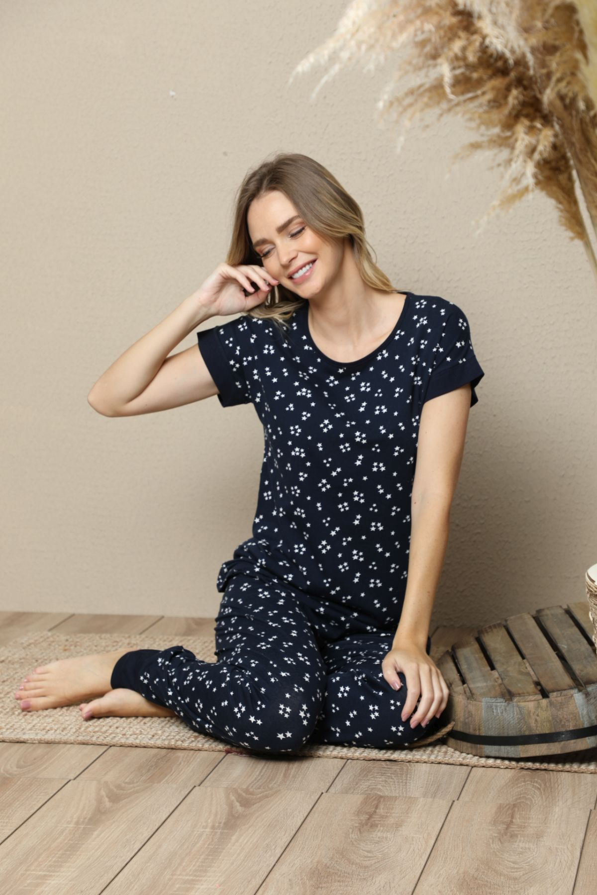 SIYAH INCI - Kısa Kollu Pamuklu Likralı Pijama Takım 21133516