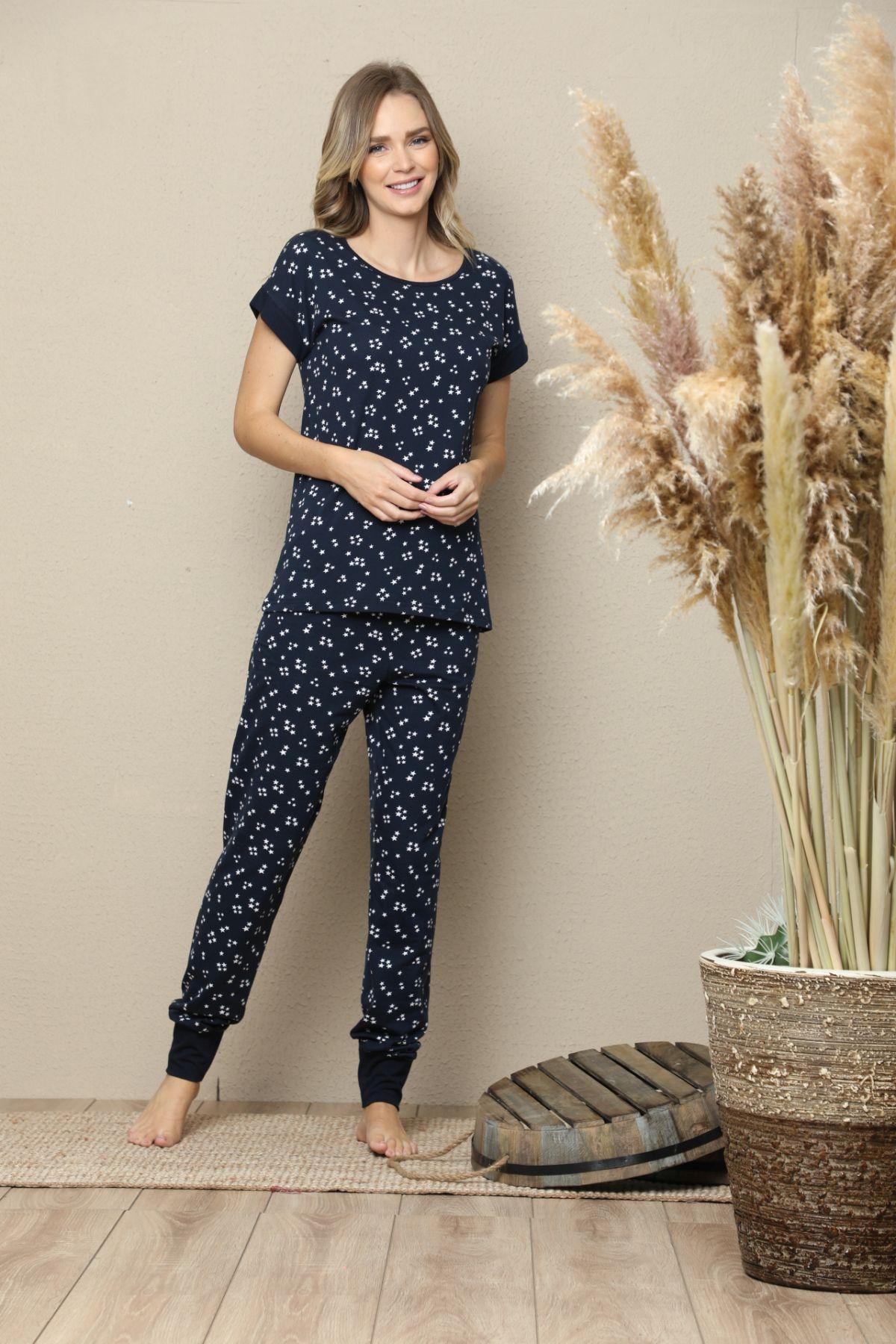 Kısa Kollu Pamuklu Likralı Pijama Takım 21133516