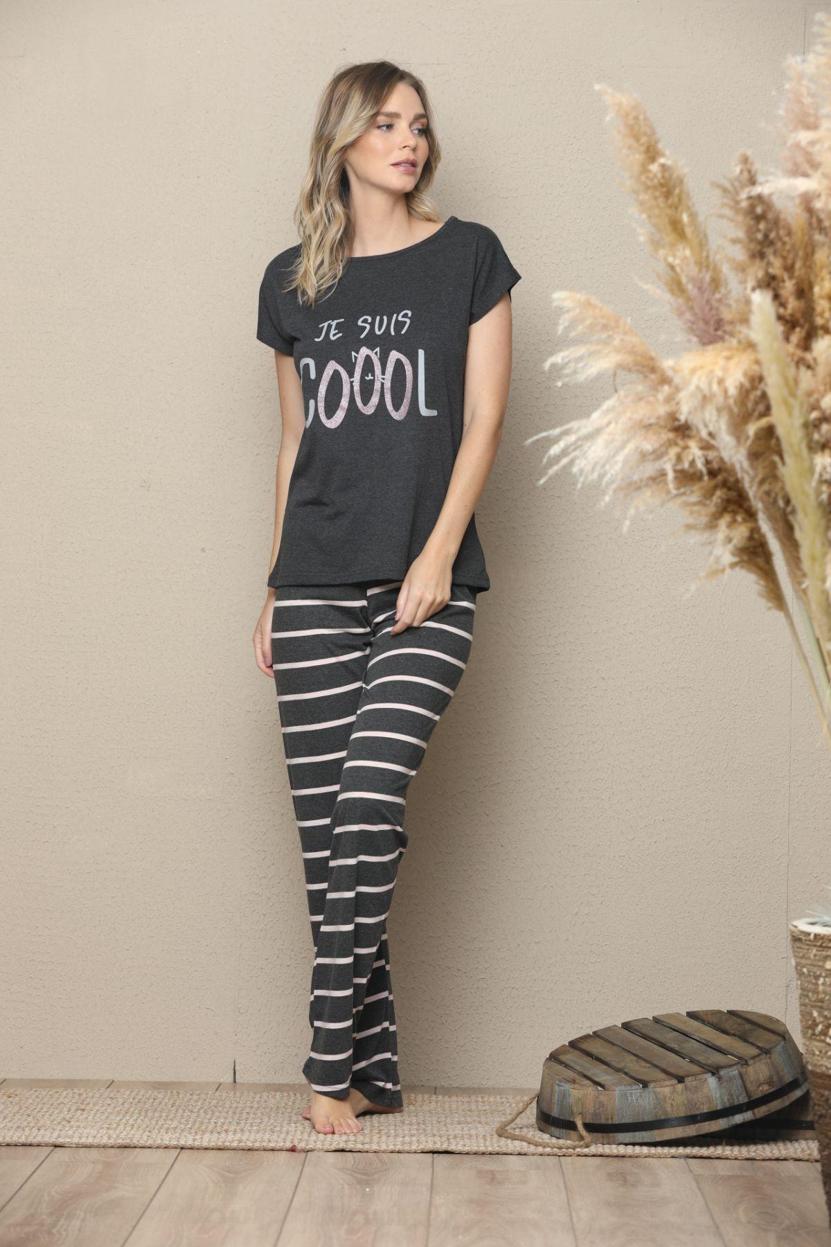 Kısa Kollu Pamuklu Likralı Pijama Takım 21133526