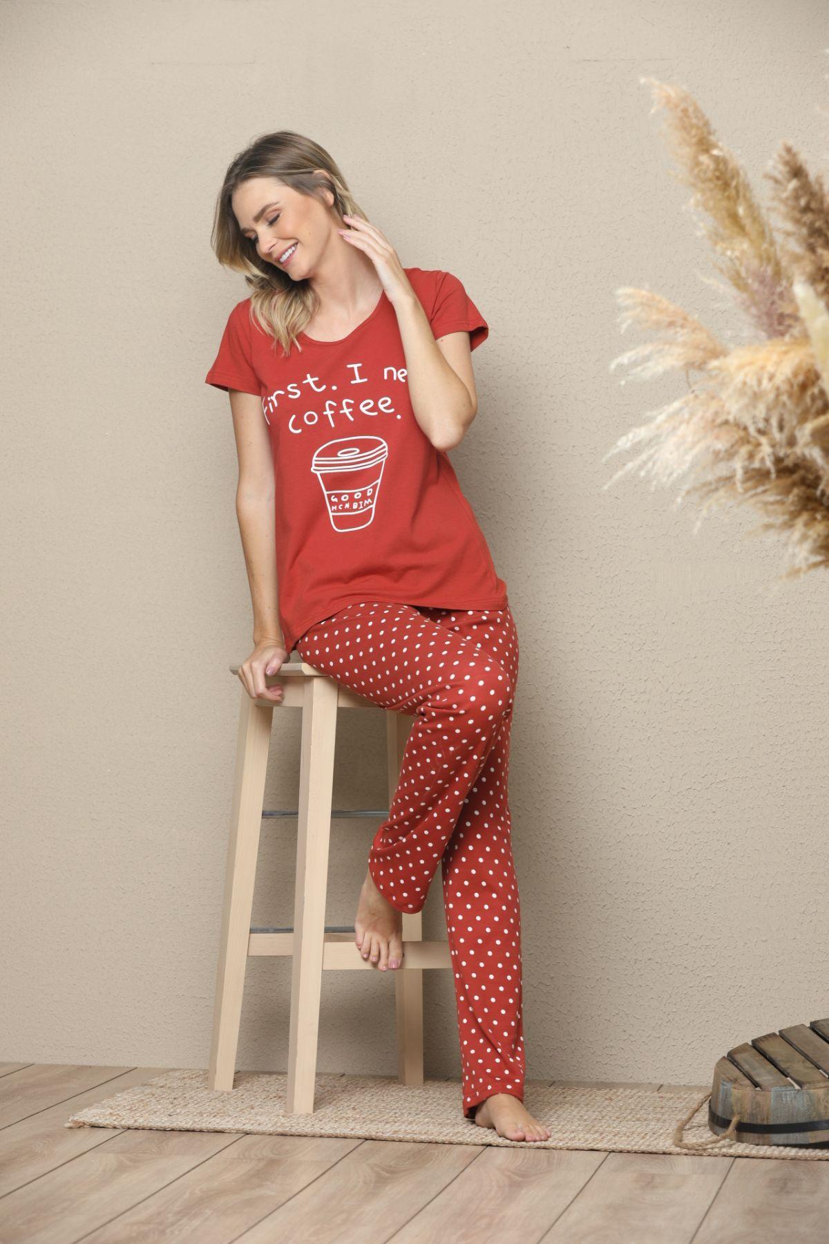SIYAH INCI - Kısa Kollu Pamuklu Likralı Pijama Takım 21133530