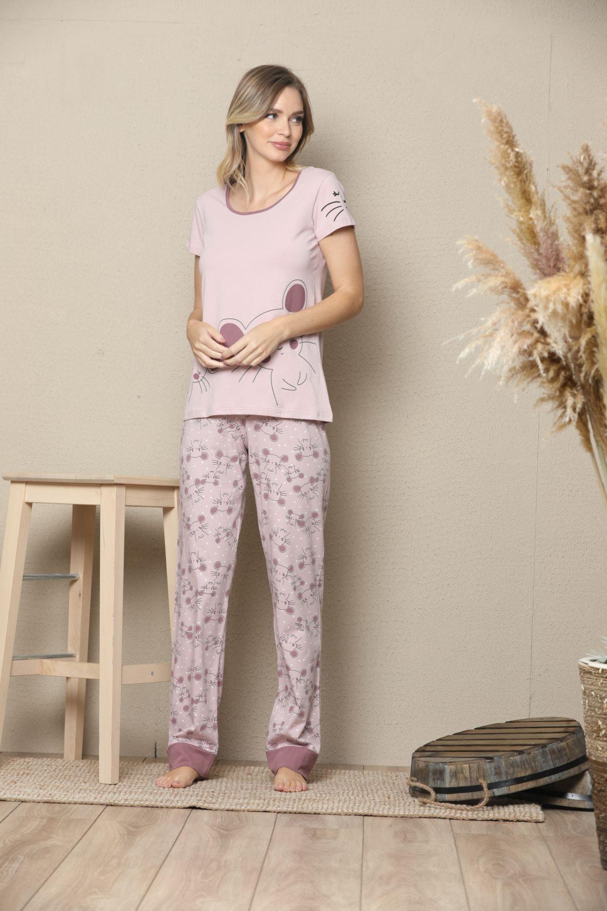 Kısa Kollu Pamuklu Likralı Pijama Takım 21133581