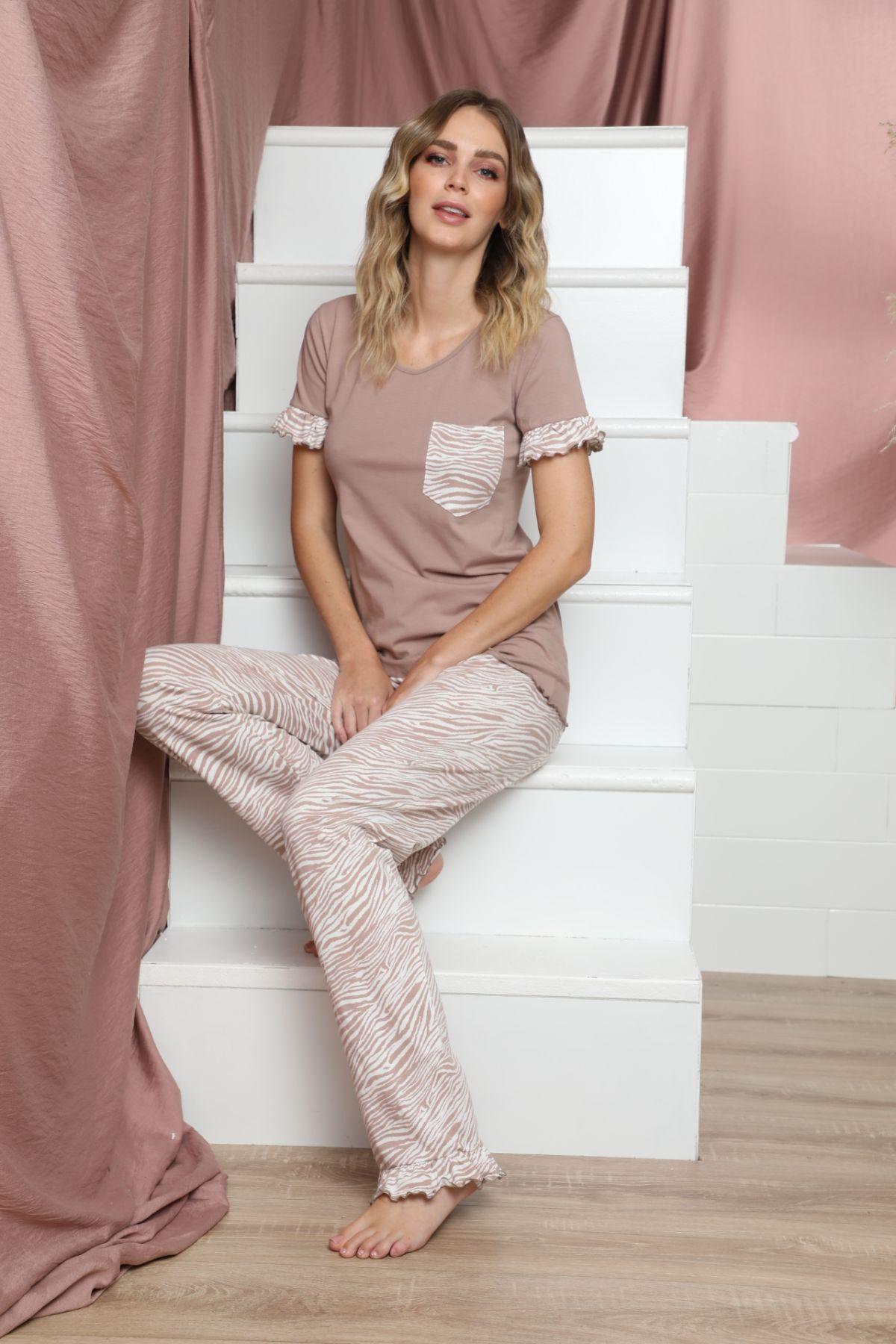 SIYAH INCI - Kısa Kollu Pamuklu Likralı Pijama Takım 21133610