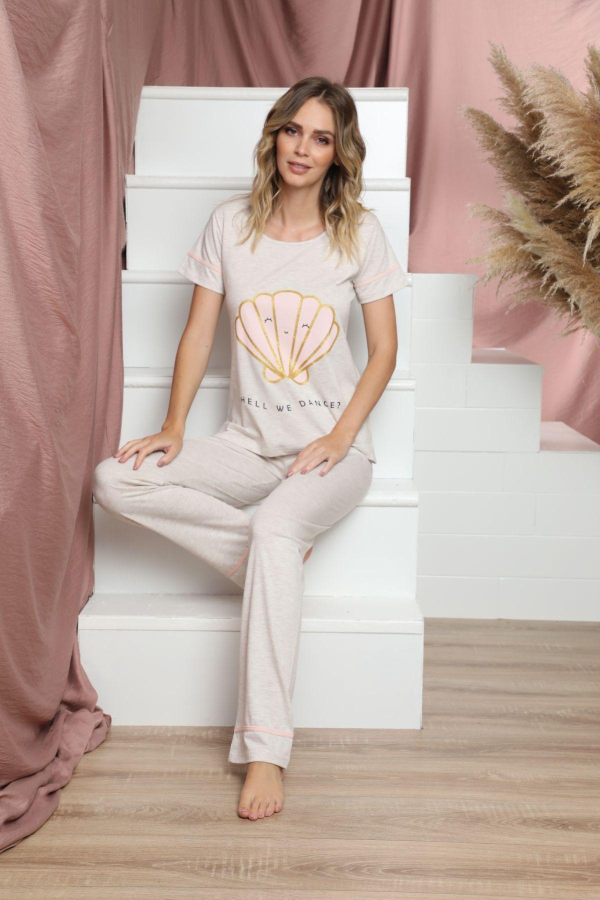 SİYAH İNCİ - Kısa Kollu Pamuklu Likralı Pijama Takım 21133615