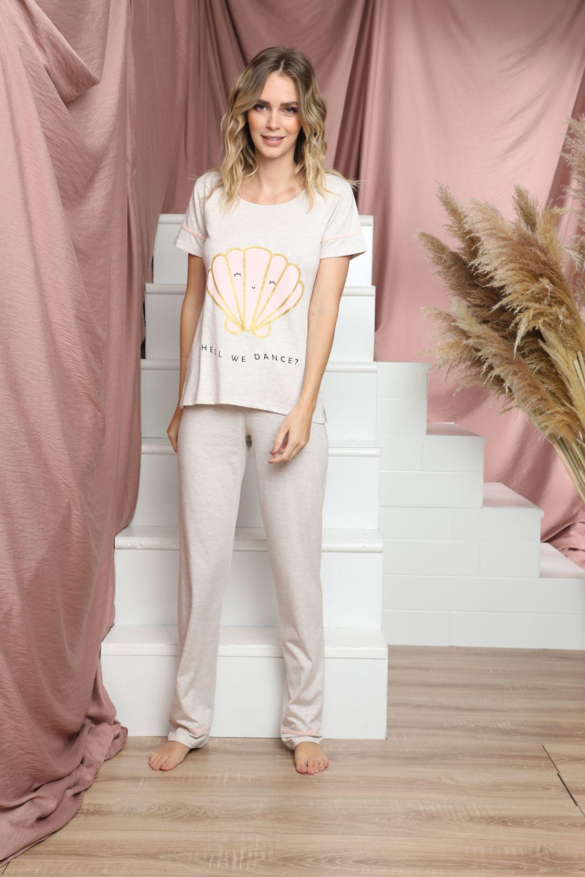 Kısa Kollu Pamuklu Likralı Pijama Takım 21133615