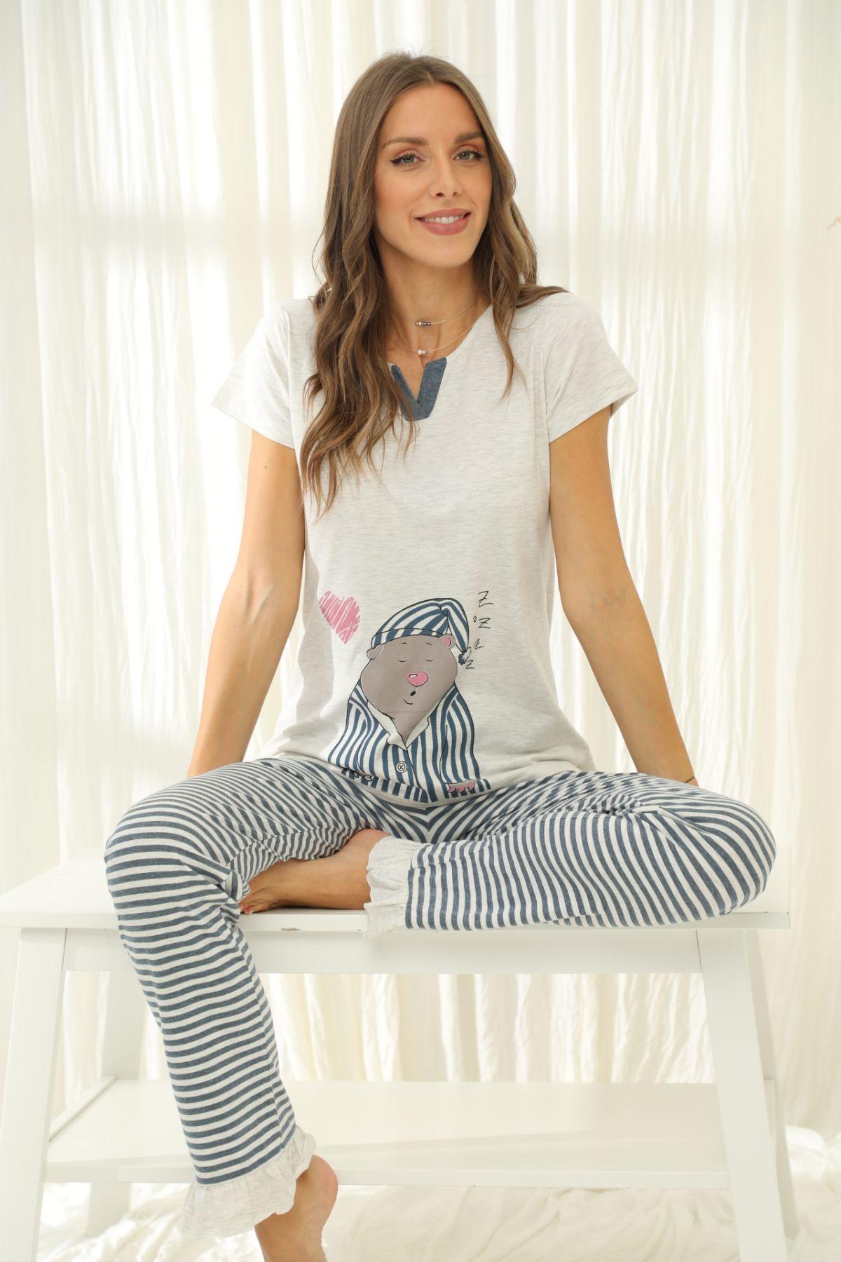 SIYAH INCI - Kısa Kollu Pamuklu Likralı Pijama Takım 21133650