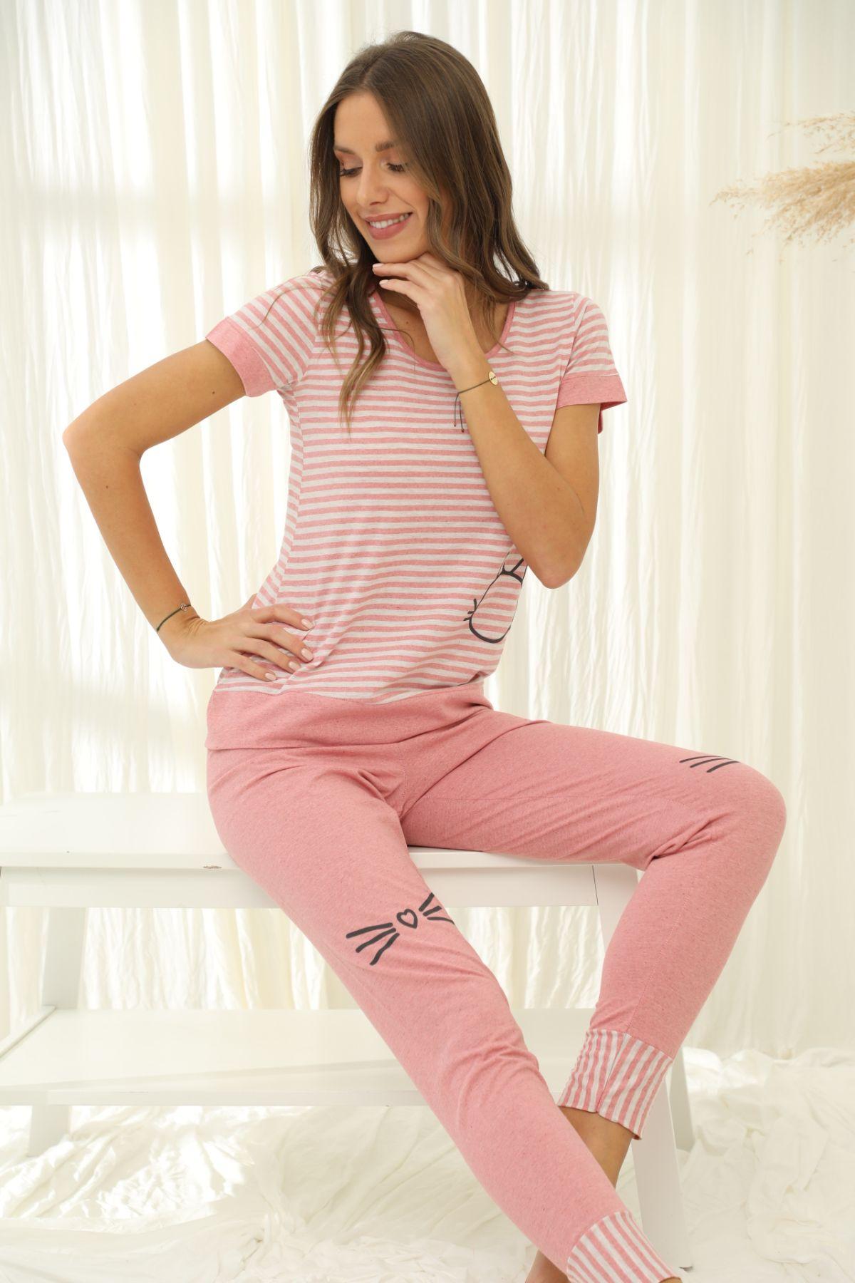 SIYAH INCI - Kısa Kollu Pamuklu Likralı Pijama Takım 21133657