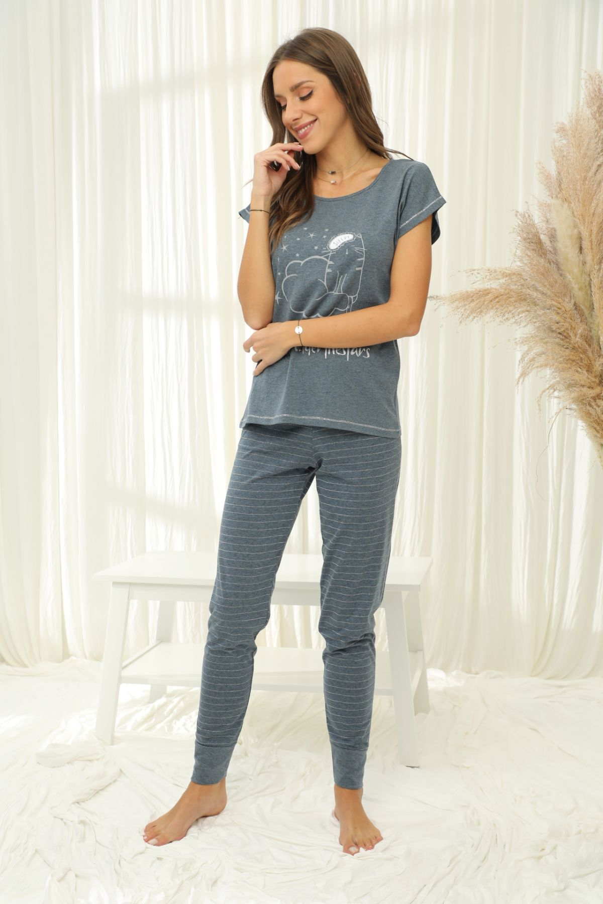 SİYAH İNCİ - Kısa Kollu Pamuklu Likralı Pijama Takım 21133671