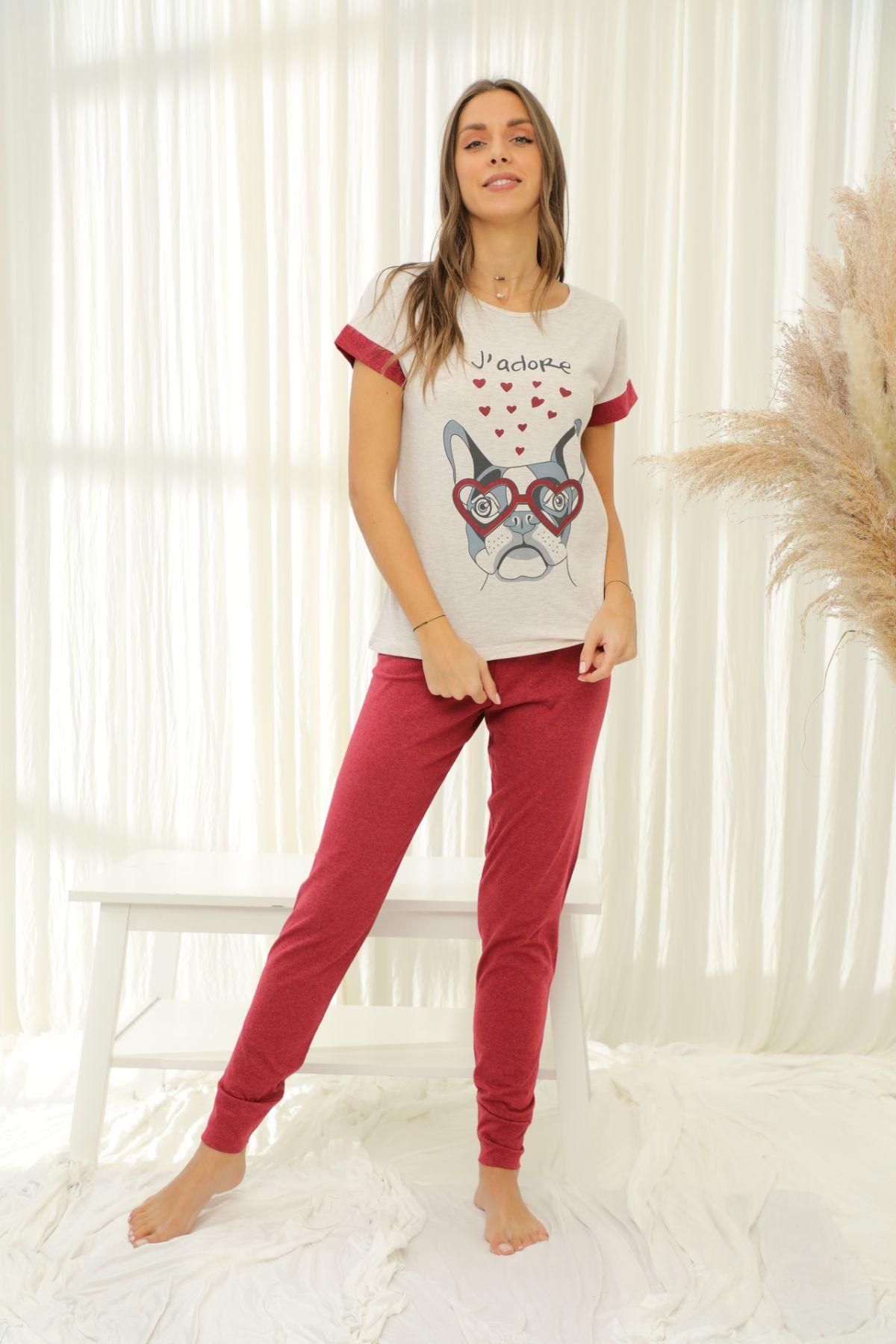 Kısa Kollu Pamuklu Likralı Pijama Takım 21133687