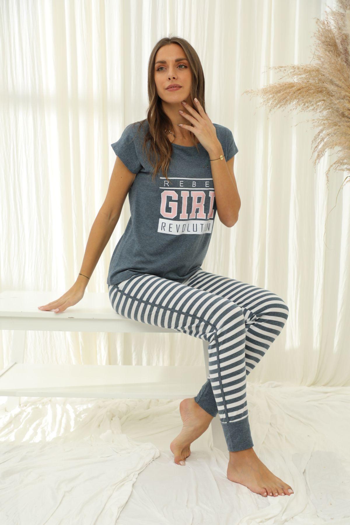 SIYAH INCI - Kısa Kollu Pamuklu Likralı Pijama Takım 21133704