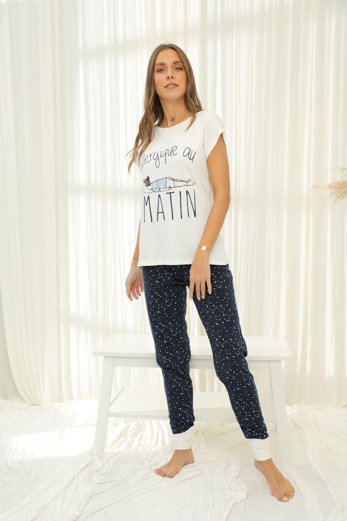 SİYAH İNCİ - Kısa Kollu Pamuklu Likralı Pijama Takım 21133714
