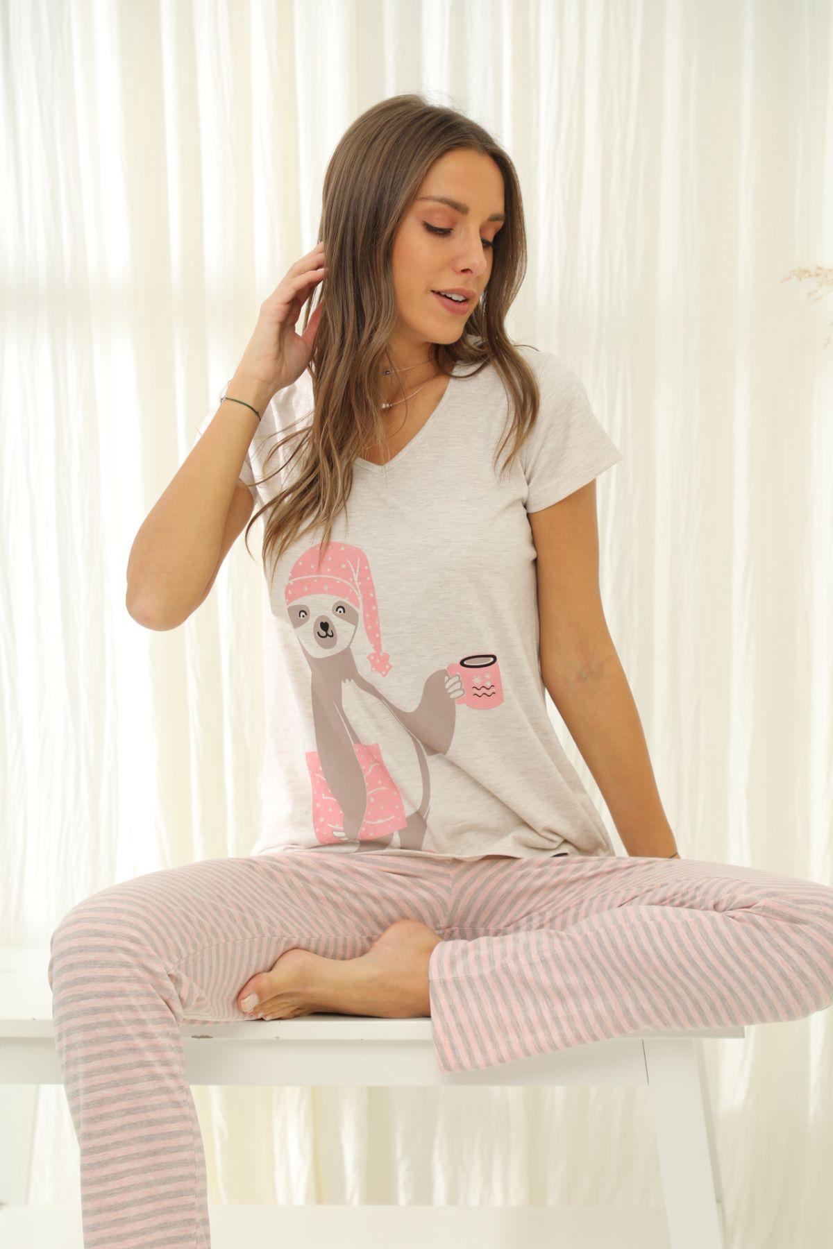 SIYAH INCI - Kısa Kollu Pamuklu Likralı Pijama Takım 21133718