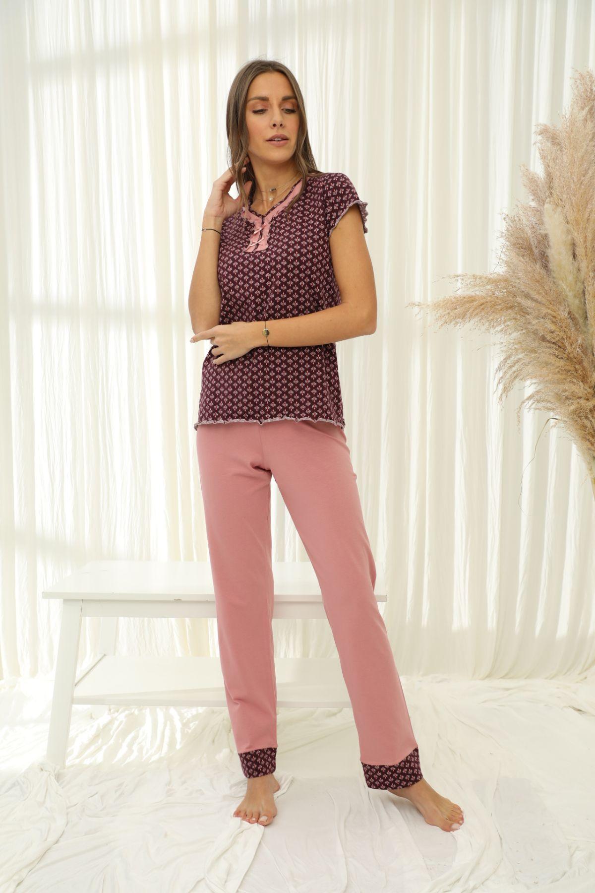 Kısa Kollu Pamuklu Likralı Pijama Takım 21133722