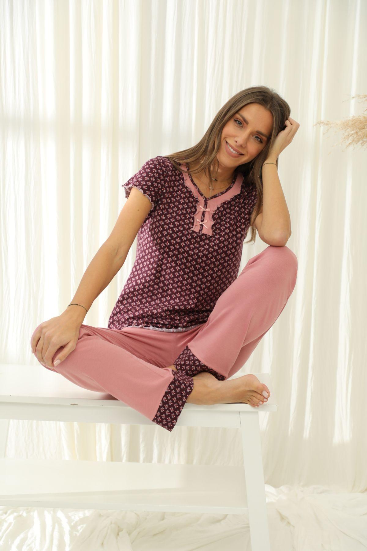 SİYAH İNCİ - Kısa Kollu Pamuklu Likralı Pijama Takım 21133722