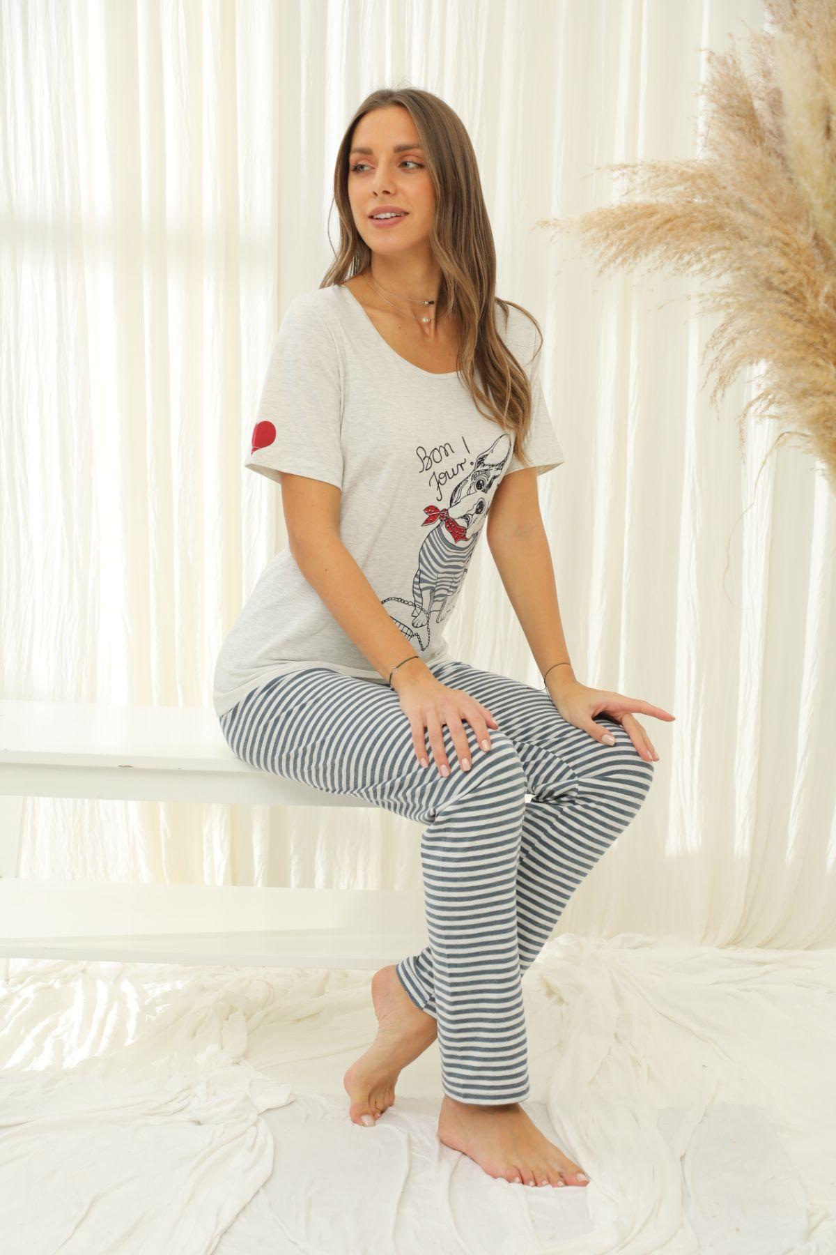 SIYAH INCI - Kısa Kollu Pamuklu Likralı Pijama Takım 21133731