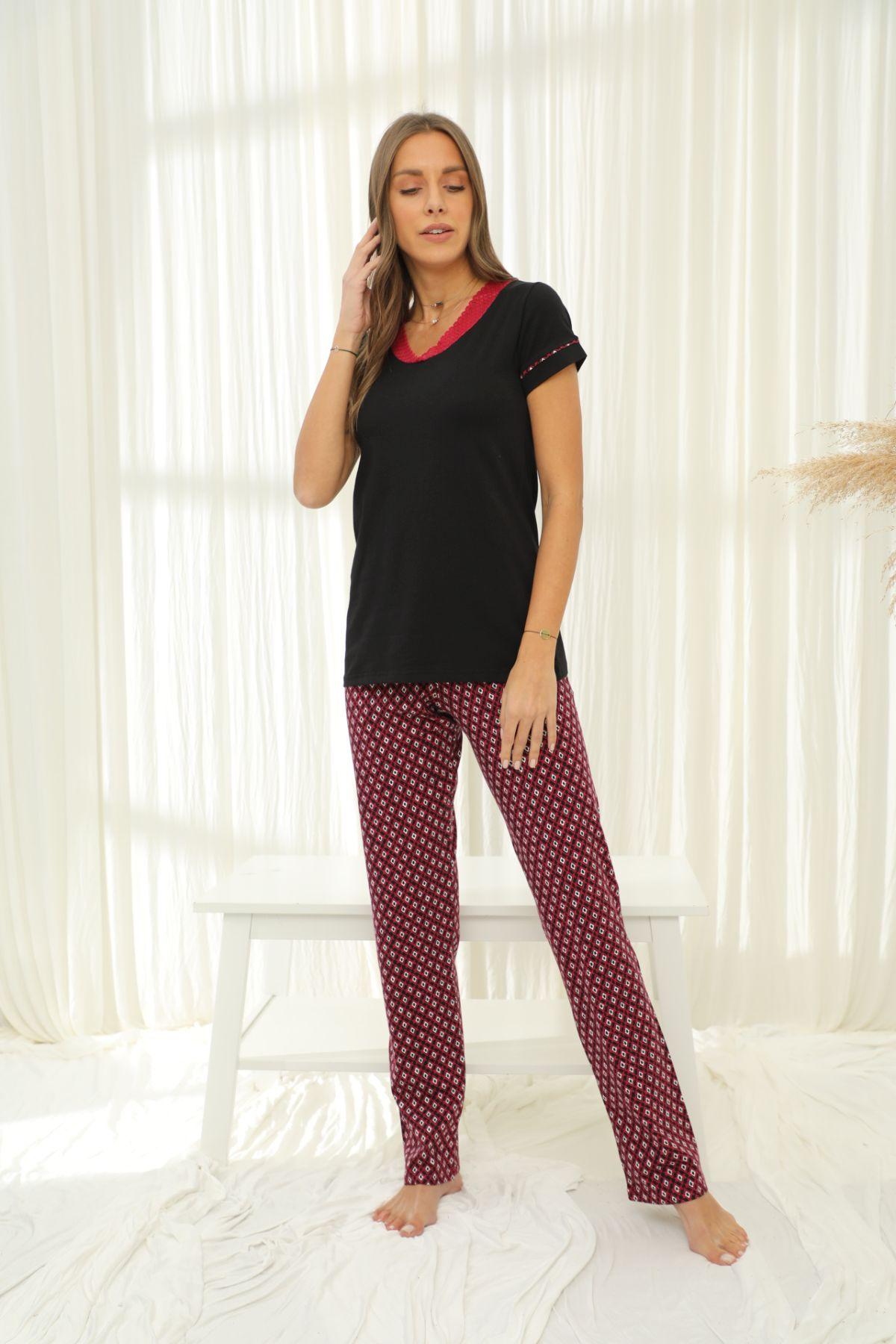 SİYAH İNCİ - Kısa Kollu Pamuklu Likralı Pijama Takım 21133744