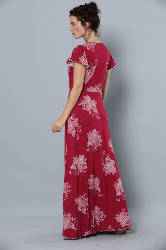 Kısa Kollu Uzun Viskon Elbise