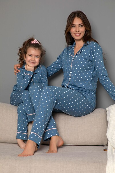 SİYAH İNCİ - Koyumavi Pamuklu Likrali Biyeli Düğmeli Pijama Takım