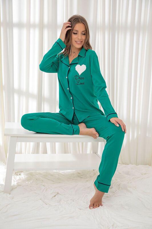 SİYAH İNCİ - Koyuyeşil Pamuklu Likrali Düğmeli Biyeli Pijama Takım