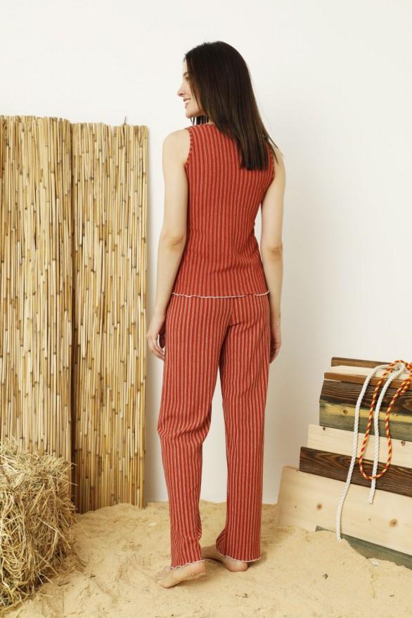 SİYAH İNCİ - Krinkıl Kumaş Nakışlı Likralı Pijama Takım
