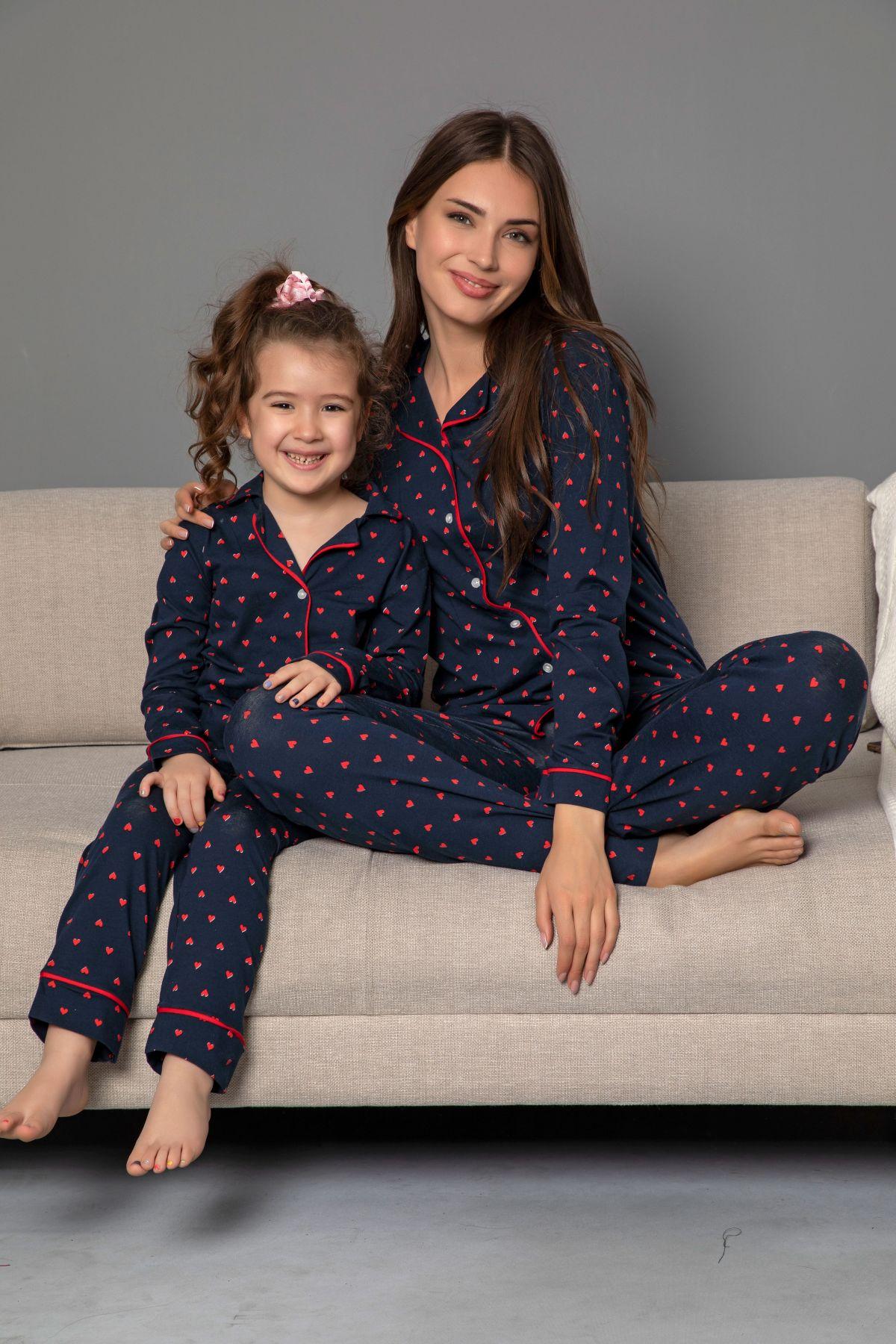 Lacivert-Kırmızı Pamuklu Likrali Biyeli Düğmeli Pijama Takım