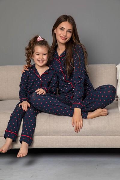 SIYAH İNCİ - Lacivert-Kırmızı Pamuklu Likrali Biyeli Düğmeli Pijama Takım