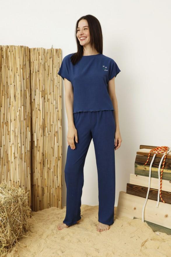 SİYAH İNCİ - Lacivert Krinkıl Kumaş Nakışlı Likralı Pijama Takım