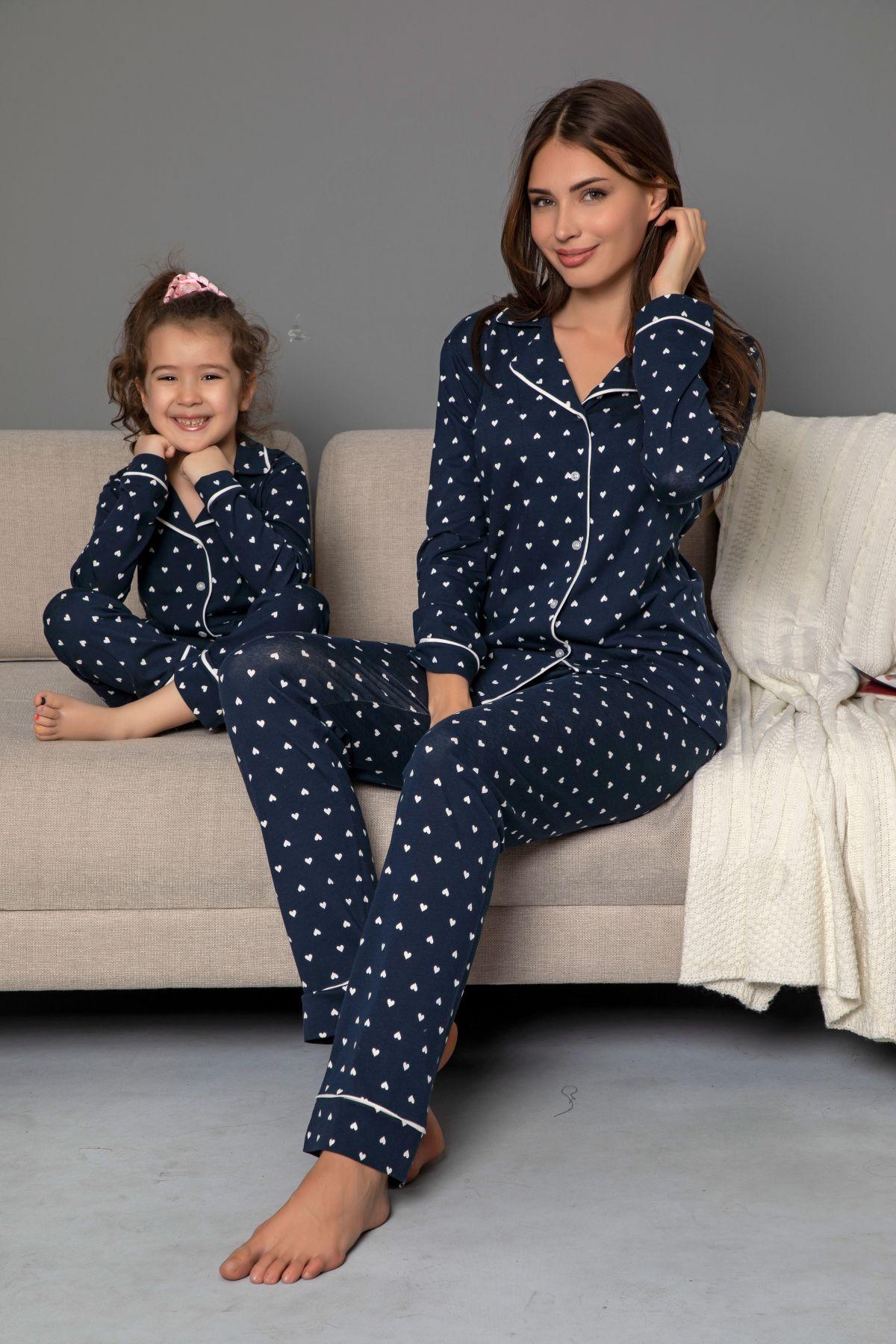 Lacivert Pamuklu Likrali Biyeli Düğmeli Pijama Takım
