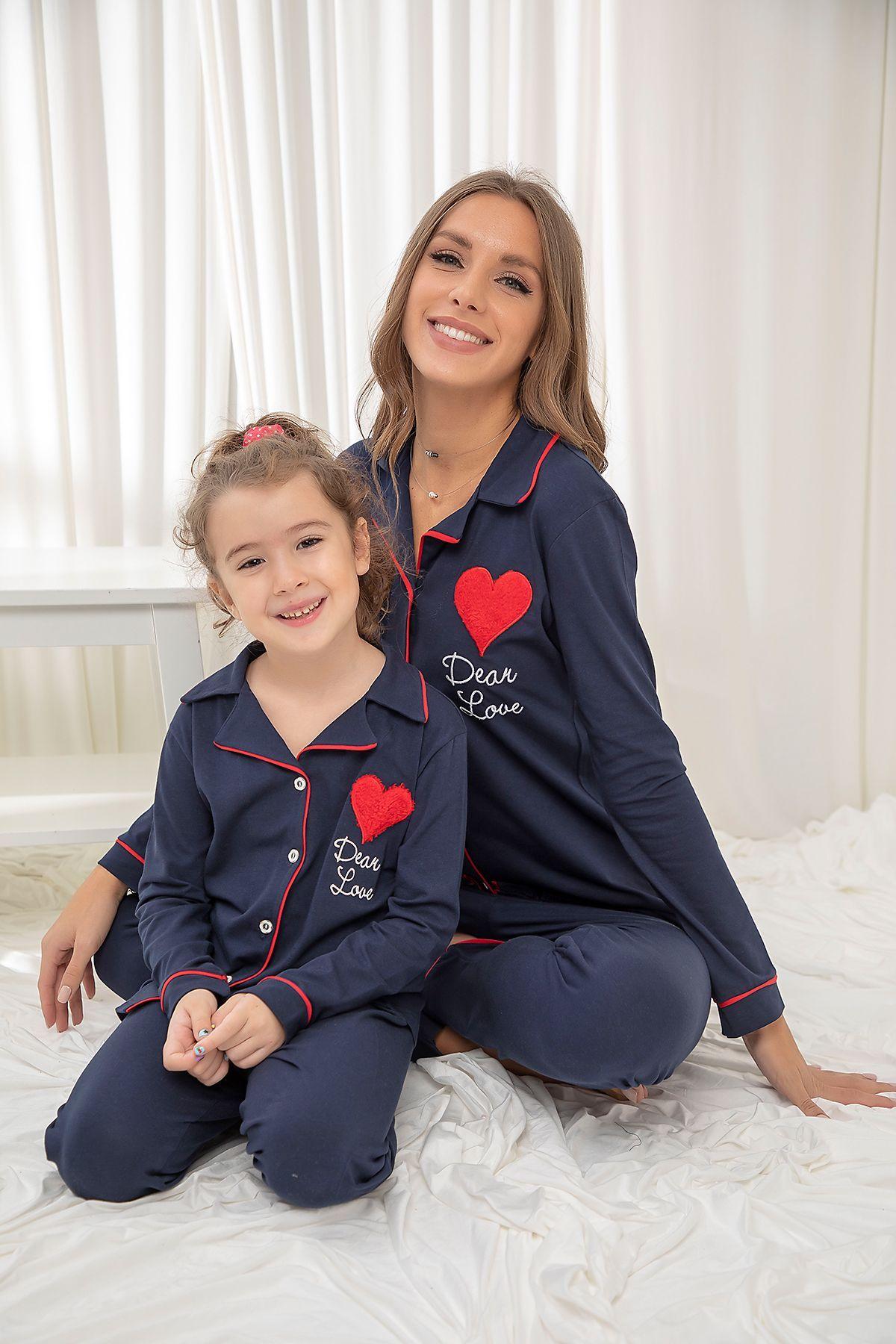 Lacivert Pamuklu Likrali Düğmeli Biyeli Pijama Takım