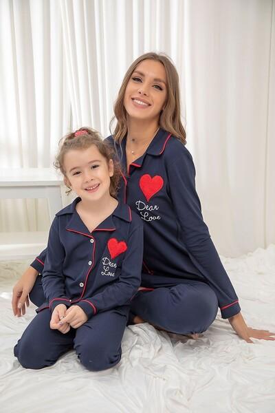 SİYAH İNCİ - Lacivert Pamuklu Likrali Düğmeli Biyeli Pijama Takım