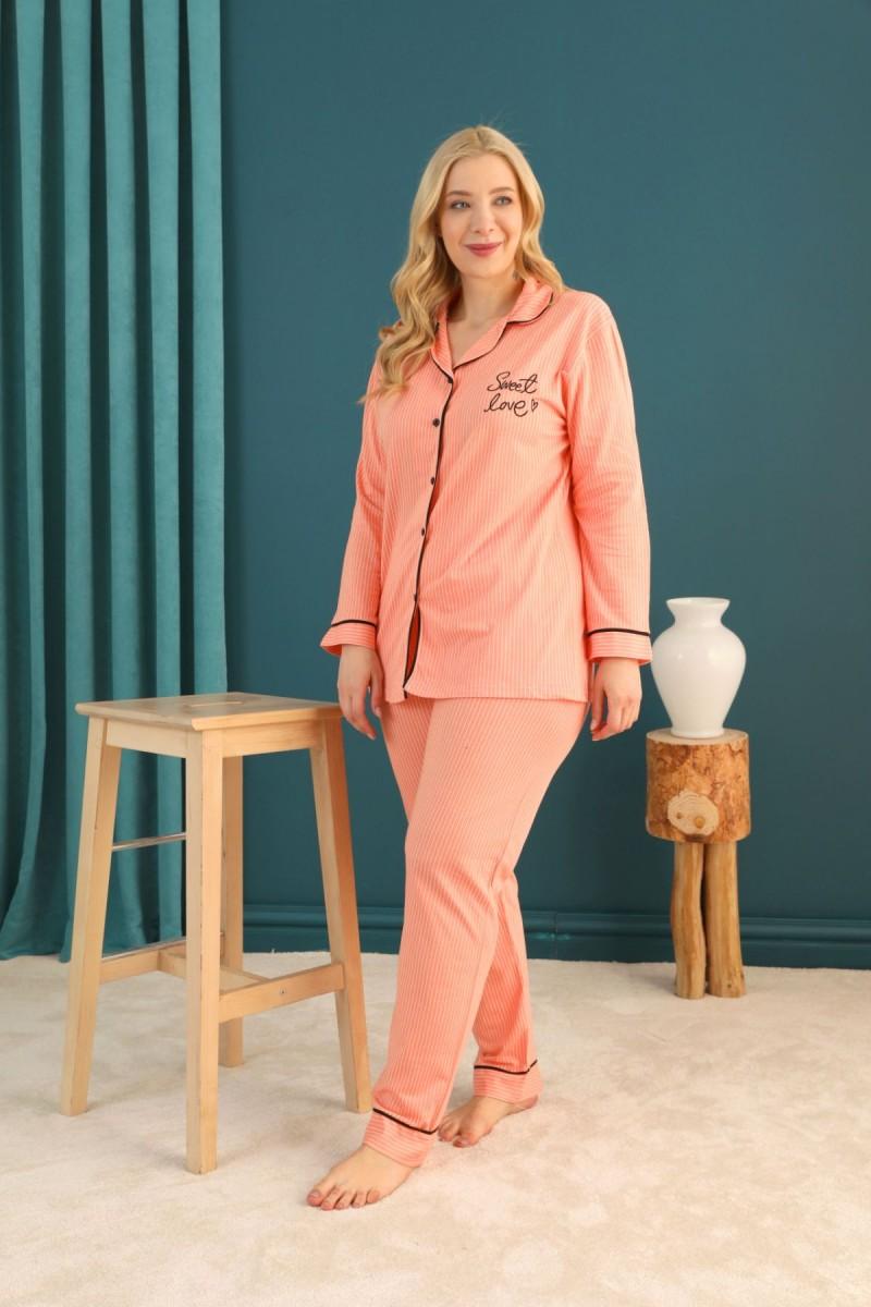 SİYAH İNCİ - Lacoste Kumaş Büyük Beden Battal Düğmeli Biyeli Pijama Takım 21275013
