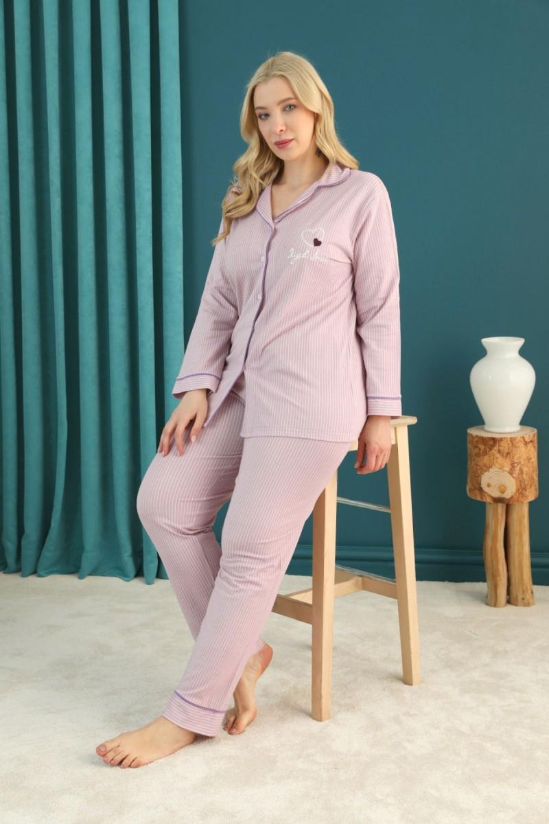 SİYAH İNCİ - Lacoste Kumaş Büyük Beden Battal Düğmeli Biyeli Pijama Takım 21275017
