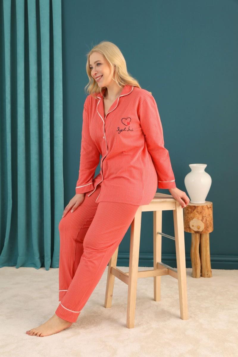 SİYAH İNCİ - Lacoste Kumaş Büyük Beden Battal Düğmeli Biyeli Pijama Takım 21275018