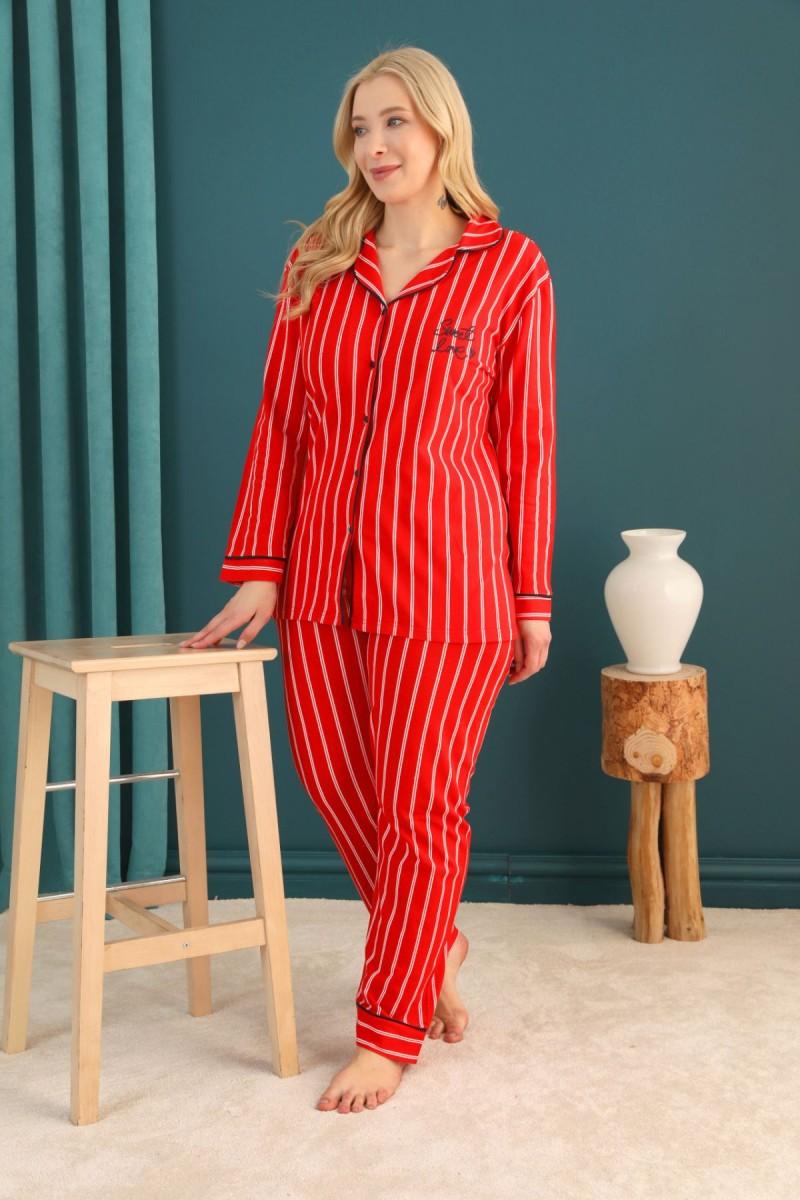 SİYAH İNCİ - Lacoste Kumaş Büyük Beden Battal Düğmeli Biyeli Pijama Takım 21275036