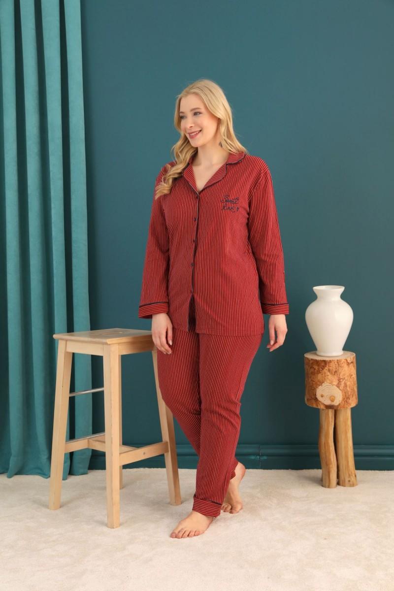 SİYAH İNCİ - Lacoste Kumaş Büyük Beden Battal Düğmeli Biyeli Pijama Takım 21275038