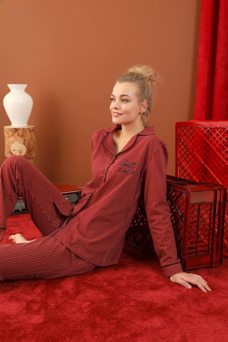 SİYAH İNCİ - Lacoste Kumaş Düğmeli Biyeli Pijama Takım 21274017