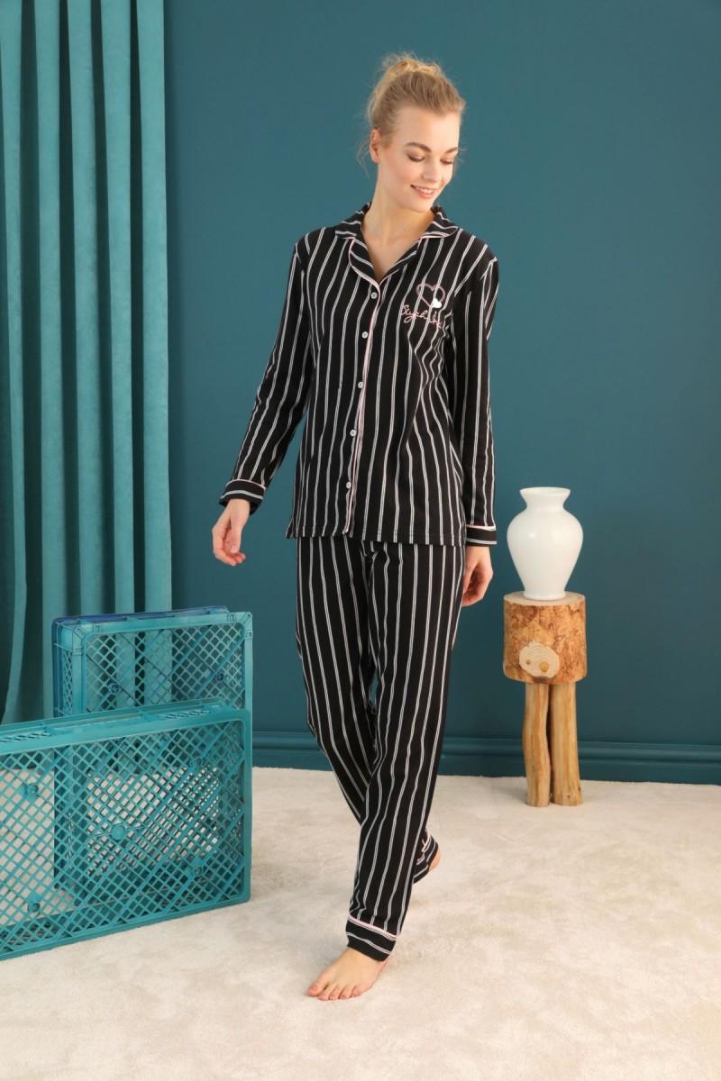 SİYAH İNCİ - Lacoste Kumaş Düğmeli Biyeli Pijama Takım 21274028