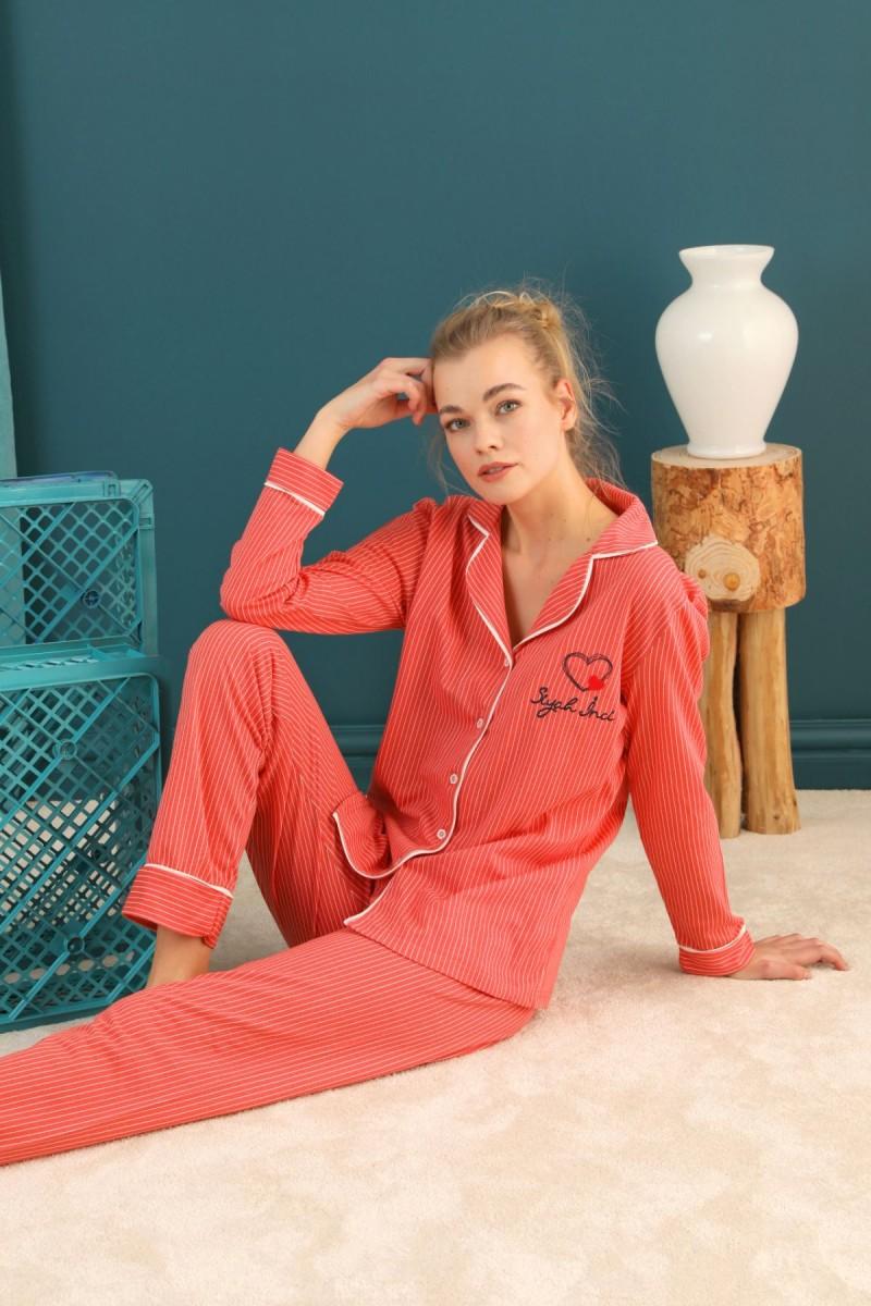 SİYAH İNCİ - Lacoste Kumaş Düğmeli Biyeli Pijama Takım 21274029