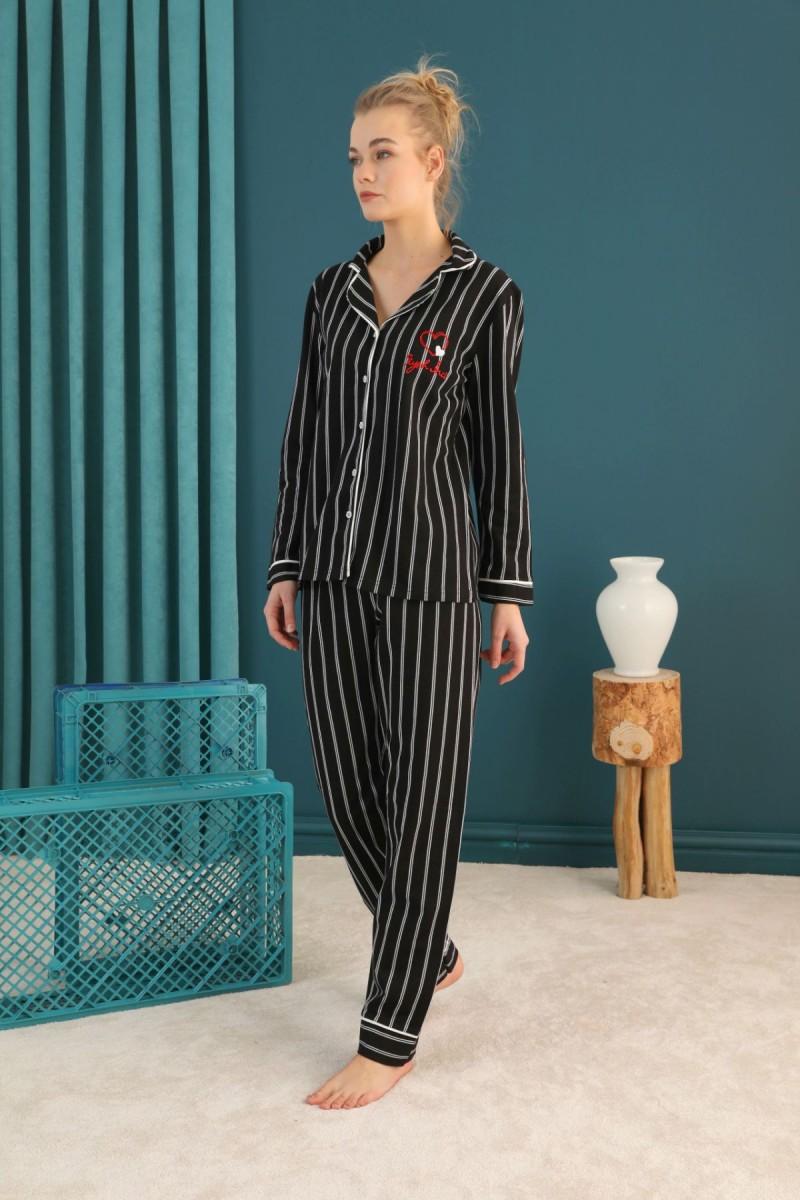 SİYAH İNCİ - Lacoste Kumaş Düğmeli Biyeli Pijama Takım 21274032