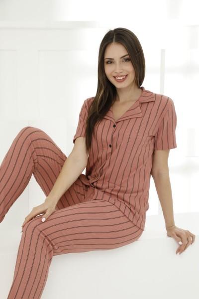 SIYAH INCI - Likralı Düğmeli Pijama Takım 21156568